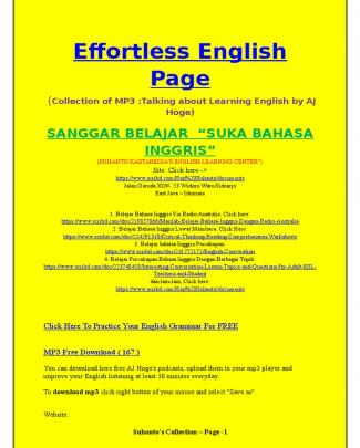 "Effortless English Page , Collection Of Mp3 ""how To Learn English"""