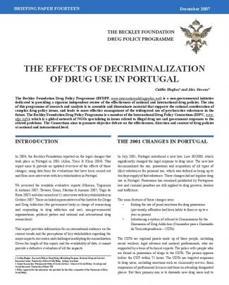The Effects Of Decriminalization  Of Drug Use In Portugal