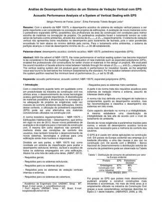 Analise Do Desempenho Acústico De Um Sistema De Vedação Vertical Com Eps