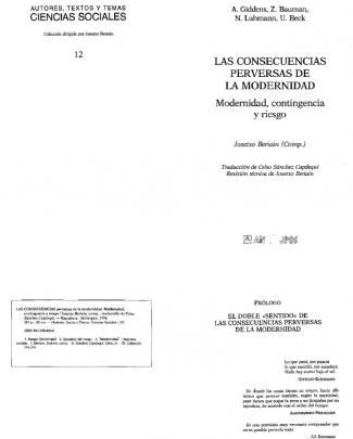 Giddens Et Al. - 1996 - Las Consecuencias Perversas De La Modern Id Ad. Modern Id Ad, Cia Y Riesgo