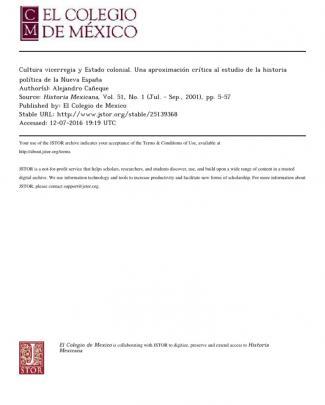Alejandro Cañeque - Cultura Vicerregia Y Estado Colonial. Una Aproximación Crítica Al Estudio De La Historia Política De La Nueva España