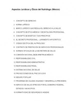 Aspectos Jurídicos Y éticos Del Nutriólogo (méxico)