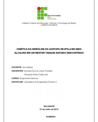 Relatório 3 - Hidrólise Do Acetato De Etila (monyque Rosa E Monique Trindade)