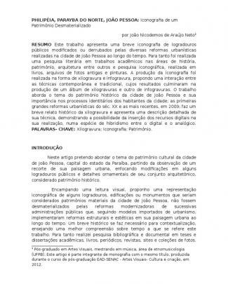 Philipéia, Parayba Do Norte, João Pessoa: Iconografia De Um Patrimônio Desmaterializado