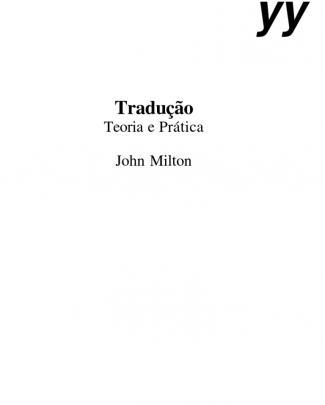 Milton,john - Tradução - Teoria E Prática