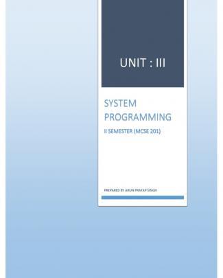 System Programming Unit-3 By Arun Pratap Singh