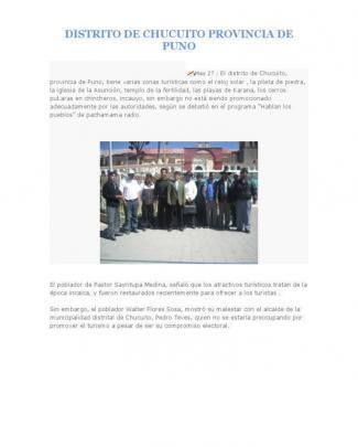 Distrito De Chucuito Provincia De Puno