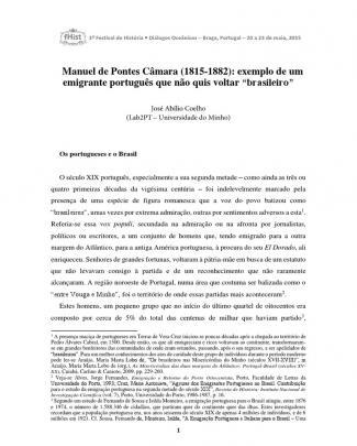 """Manuel De Pontes Câmara (1815-1882): Exemplo De Um Emigrante Português Que Não Quis Voltar """"brasileiro"""""""