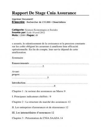 Rapport De Stage Cnia Assurance