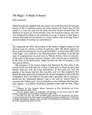 Voegelin Eric On Hegel A Study In Sorcery 1