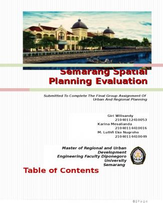 Semarang Spatial Planning Evaluation