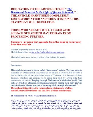Refutation To The Article Titled -the Doctrine Of Tawassul In The Light Of Qur'an & Sunnah