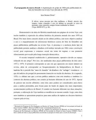 é Propaganda Da Marca Brasil: A Legitimação Do Golpe De 1964 Pela Publicidade Do Sete De Setembro Na Revista Veja (década De 1970)