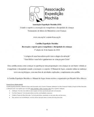 Cartilha Recreação E Esporte Para Evangelismo E Discipulado De Crianças