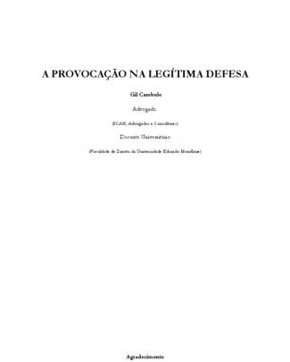 Gil Cambule_ A Provocacao E Legitima Defesa No Direito Mocambicano_notas Breves