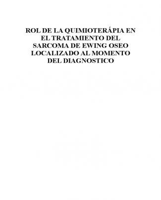 Sarcoma De Ewing Oseo