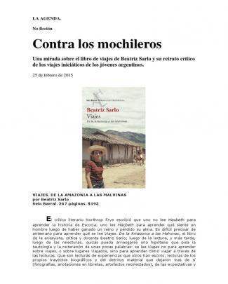 Viajes De Beatriz Sarlo - Por Marcelo Pisarro