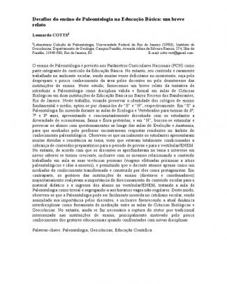 Cotts (2014) Desafios Da Paleontologia Na Educação Básica