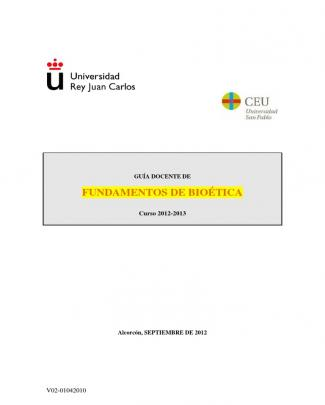 Fundamentos De Bioetica 2012-13