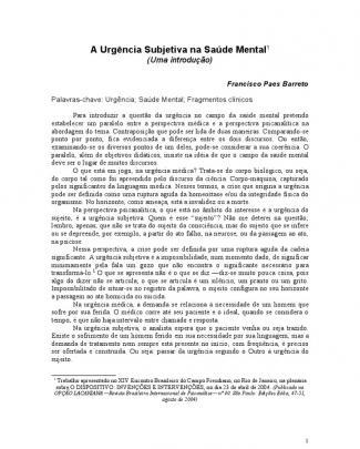 Barreto Paes, A Urgencia Subjetiva Na Saude Mental