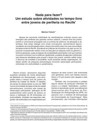 Nada Para Fazer? Um Estudo Sobre Atividades No Tempo Livre Entre Jovens De Periferia No Recife