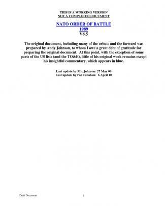 Nato Order Of Battle 1989