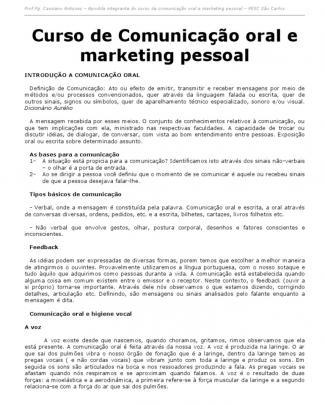 Apostila Gratuita - Curso De Comunicação Oral E Marketing Pessoal