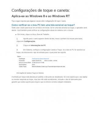 Configurações De Toque E Caneta Windows 8