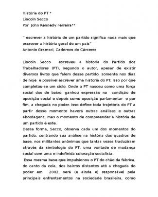 História Do Pt Do Lincoln Secco.doc
