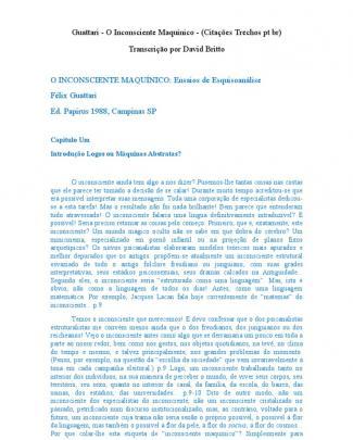 Guattari - O Inconsciente Maquínico - (citações Trechos Pt Br)