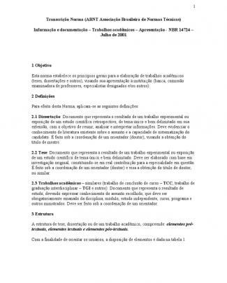 Abnt Nbr 14724 - Trabalhos Acadêmicos