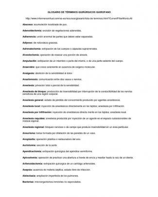 Glosario De Términos Quirúrgicos Quirofano