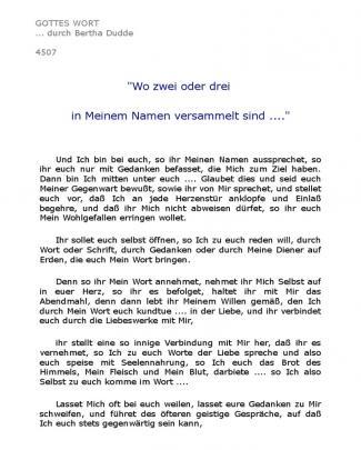 4507 ''wo Zwei Oder Drei In Meinem Namen Versammelt Sind ....''