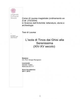 L'isola Di Tinos Dai Ghisi Alla Serenissima (xiv-xv Secolo)