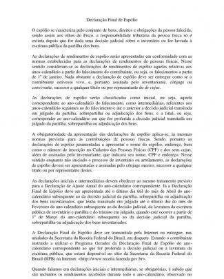 Declaração Final De Espólio