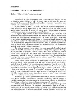 Os Bufões - O Mistérios, O Grotesco E O Fantástico - Jacques Lecoq