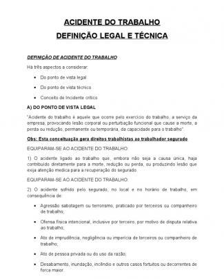 Acidente Do Trabalho Conceito Tecnico E Legal