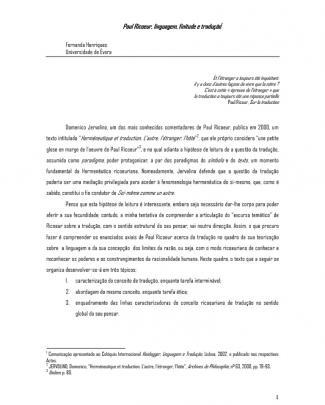 Paul Ricoeur, Linguagem, Finitude E Tradução