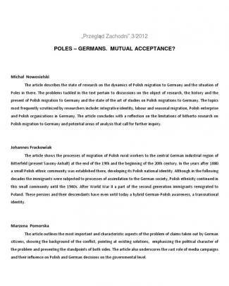 Przegląd Zachodni 3/2012 Poles – Germans. Mutual Acceptance?