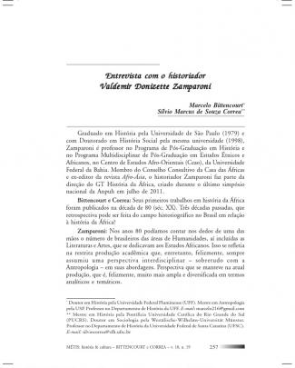 Entrevista Com O Historiador Valdemir Donizette Zamparoni
