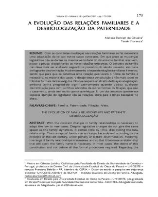 A Evolução Das Relações Familiares E A Desbiologização Da Paternidade