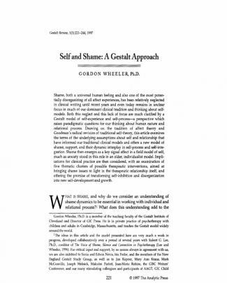 Self And Shame - A Gestalt Approach