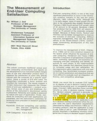 Artigo - Doll E Torkzadeh 1988 - The Mesurement Of End-user Computing Satisfaction