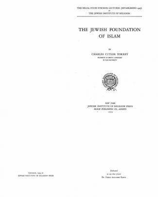 The Jewish Foundation Of Islam, C. Torrey