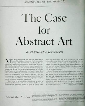 Greenberg, Clement - The Case For Abstract Art
