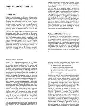 Principles Of Satitherapy