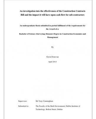 Construction Contracts Bill - A Thesis By Gavin Donovan