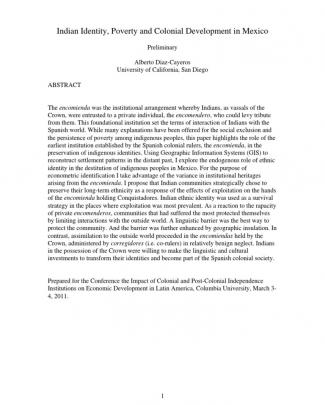Indian Identity, Poverty And Colonial Development In Mexico - Diazcayeros