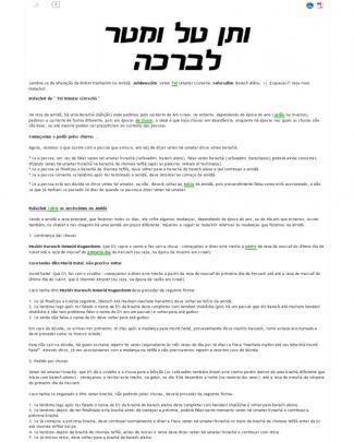 Alteração Na Tefilá - Sefaradim E Ashkenazim - Veten Tal Umatar Livrachá , Barech Alênu Na Amidá - Koshermap