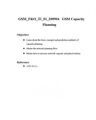 Gsm Capacity Planning